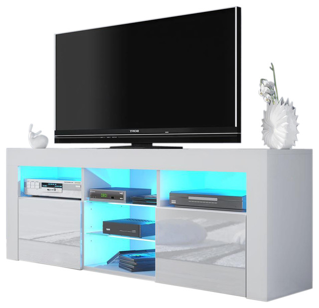 "Milano 145 Modern 65"" Tv Stand Matte Body High Gloss Fronts, Led Within Most Recent Rowan 74 Inch Tv Stands (Gallery 13 of 20)"