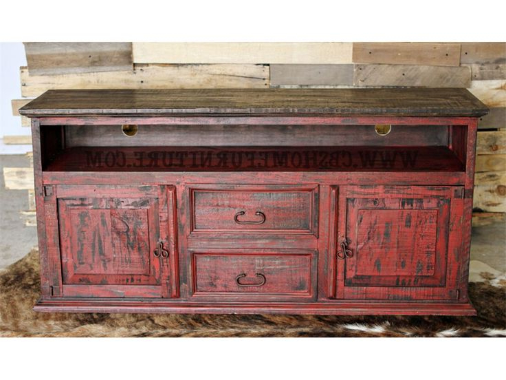 Million Dollar Rustic Bedroom Red Distressed Tv Stand $449 09 76 Regarding Current Black And Red Tv Stands (View 13 of 20)