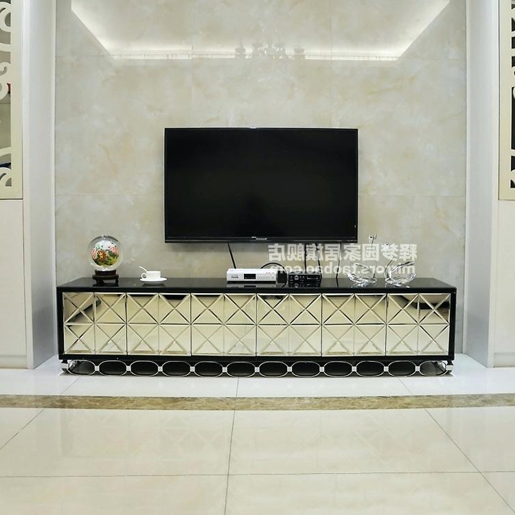 Mirror Tv Cabinets Within 2018 Glass Mirror Tv Stand Mirrored Stand Unit Storage Cabinet Glass (View 15 of 20)