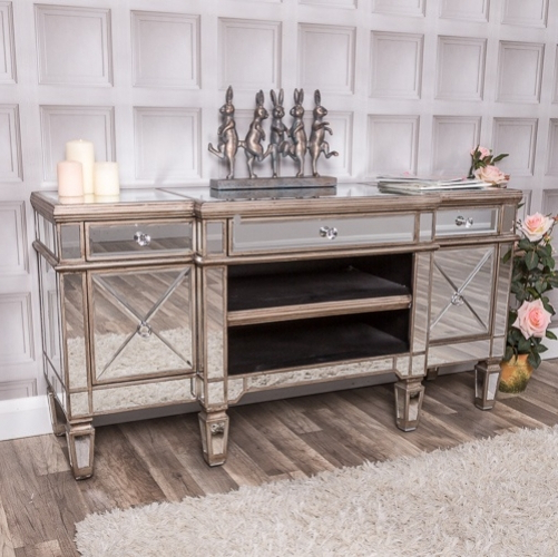 Mirrored Tv Cabinets From Shabby Chic And Vintage (View 2 of 20)