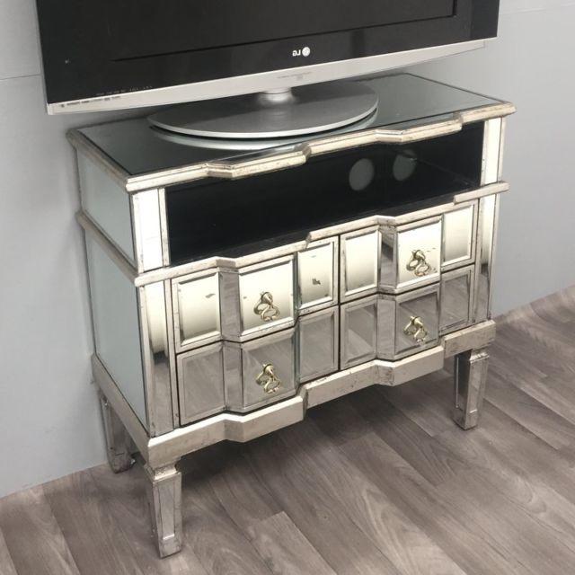 Mirrored Tv Cabinets Furniture Regarding Fashionable Mirrored Tv Stand Cabinet Furniture Venetian Vintage 4 Drawers Shelf (View 12 of 20)