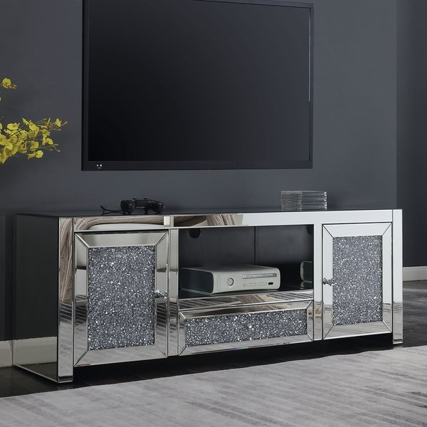 Mirrored Tv Stands For Favorite Shop Furniture Of America Aarika Glam Mirrored Tv Stand – On Sale (View 4 of 20)