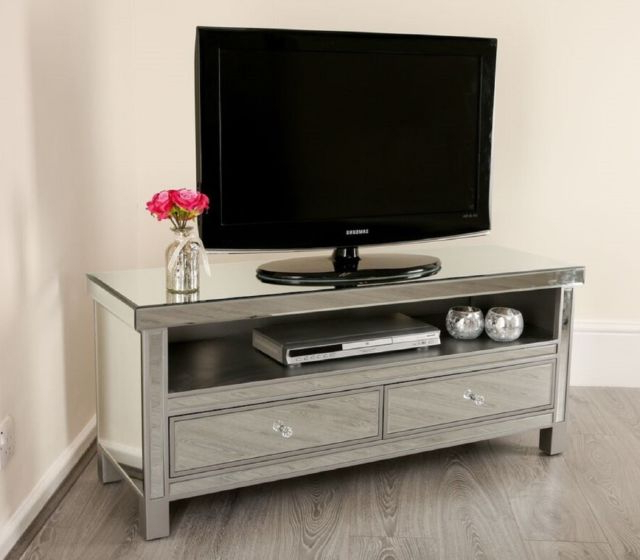 Mirrored Tv Stands Intended For Widely Used Mirrored Tv Stand Unit Storage Cabinet Glass Furniture Venetian (View 6 of 20)