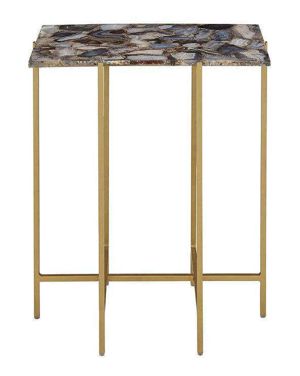 Mix Agate Metal Frame Console Tables Throughout 2017 Blinn Rectangular Gray Agate Brass Side Table (View 10 of 20)