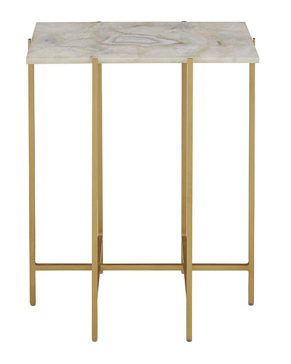 Mix Agate Metal Frame Console Tables Throughout Most Recently Released Blinn Ivory Agate Gold Iron Side Table (View 12 of 20)