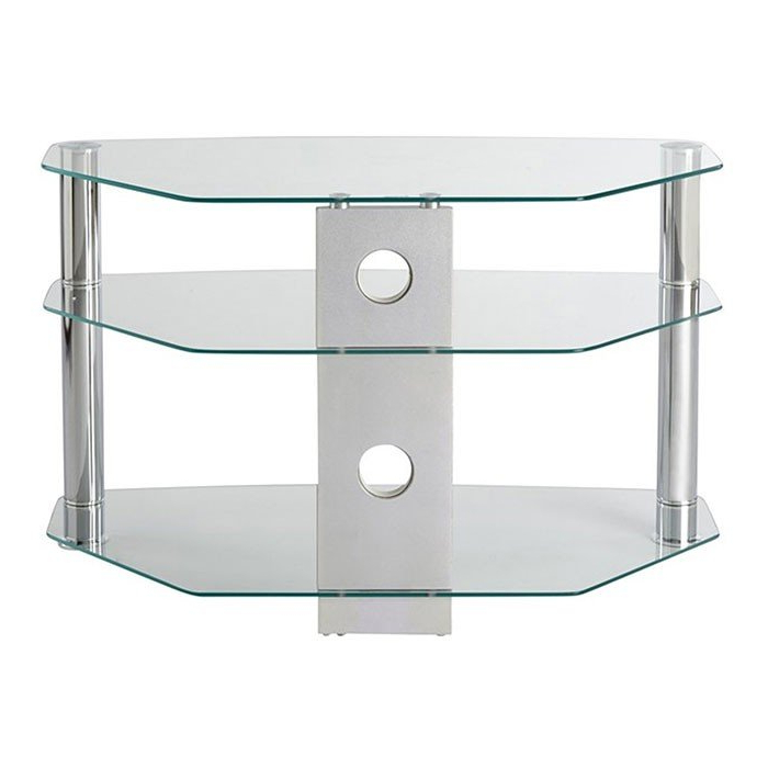Mmt Cl800 Jet Premium Clear Glass Corner Tv Stand For Screens Up To With Regard To Well Known Clear Glass Tv Stand (View 13 of 20)