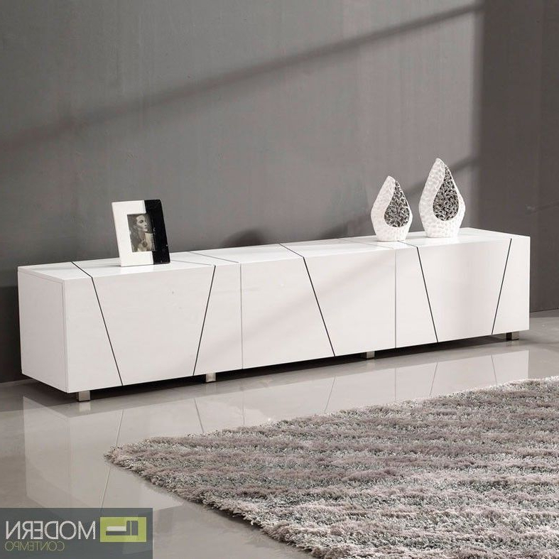 Modern Alicia White Lacquer Tv Stand Entertainment Center (View 20 of 20)