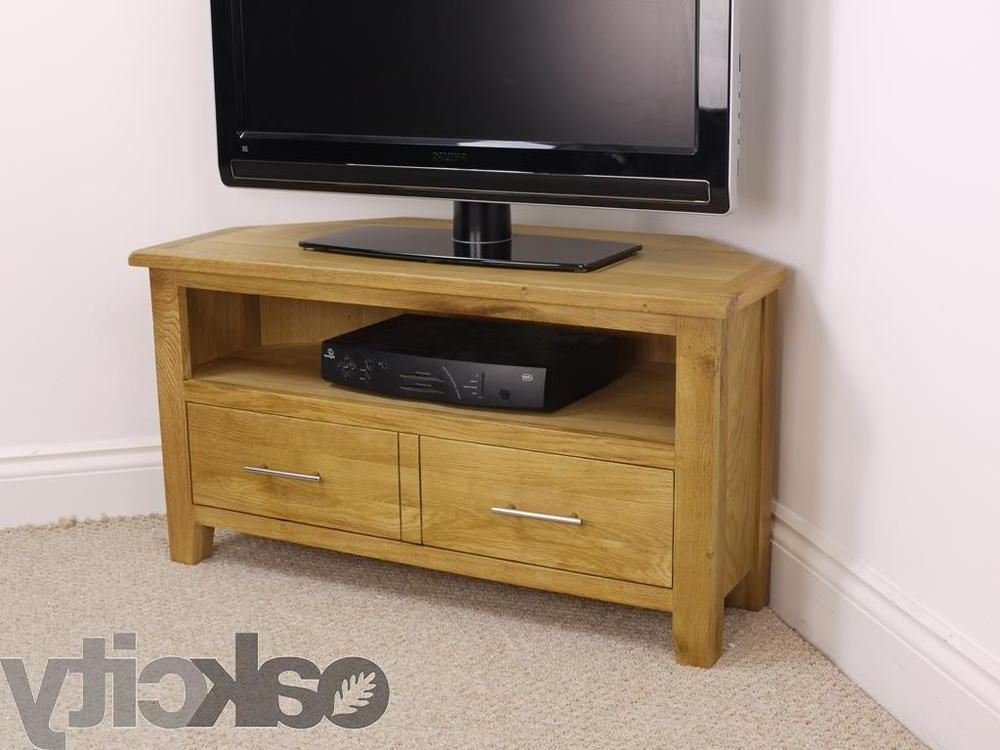 Modern Corner Tv Units With Regard To Well Liked Nebraska Modern Oak Corner Tv Unit / Solid Wood Tv Stand / Oiled (Gallery 20 of 20)