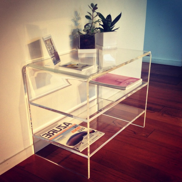Modern Design Clear Acrylic Tv Stand With 2 Shelves Perspex End Throughout Best And Newest Clear Acrylic Tv Stands (View 13 of 20)