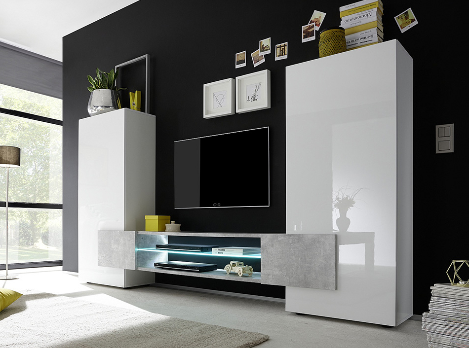 Modern Design Tv Cabinets Pertaining To Most Current Modern Wall Unit / Tv Stand Incastrolc Mobili (View 9 of 20)