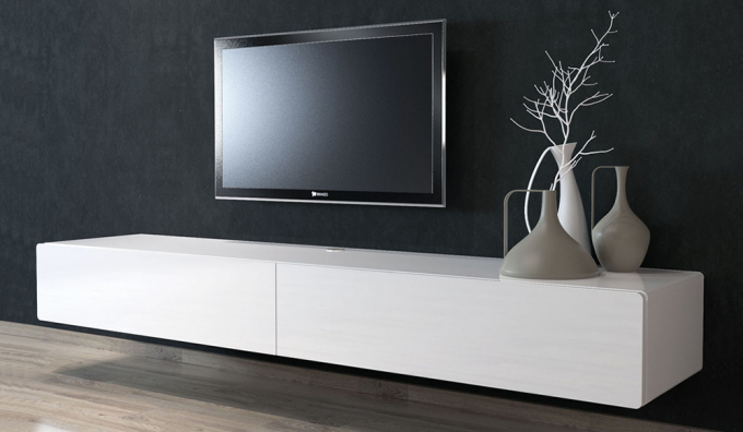 Modern Floating Entertainment Unitwhite High Gloss Finishw220 X D47 With Favorite Long White Tv Cabinets (View 3 of 20)