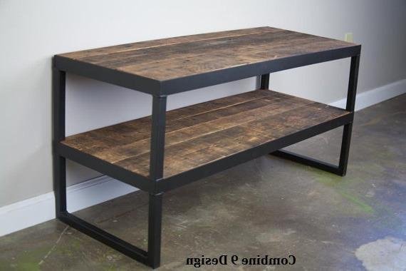 Modern Industrial Tv Stand. Reclaimed Wood & Steel (View 12 of 20)