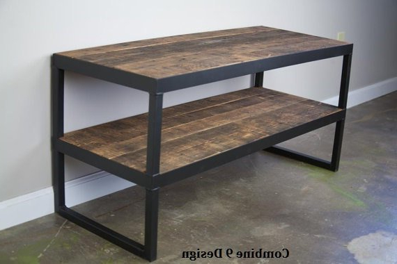 Modern Industrial Tv Stand. Reclaimed Wood & Steel (View 14 of 20)
