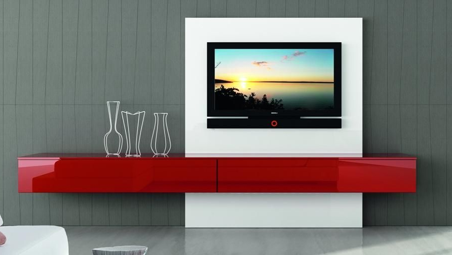 Modern Italian Tv Unit Astro Composition 1 – High Gloss Contemporary With Popular Red Gloss Tv Cabinets (Gallery 6 of 20)
