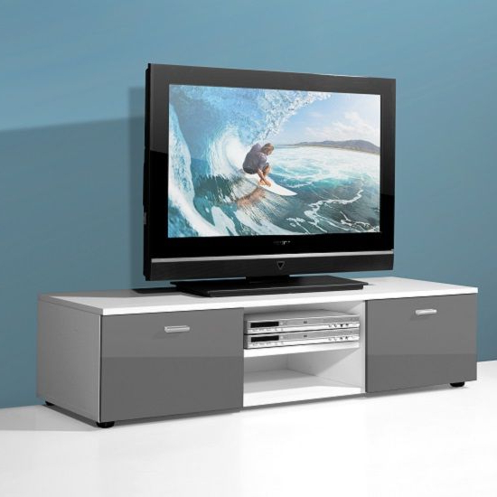 Modern Low Board Lcd Tv Stand In White And 2 Doors In Grey Gloss With Regard To Well Liked Modern Low Tv Stands (Gallery 15 of 20)