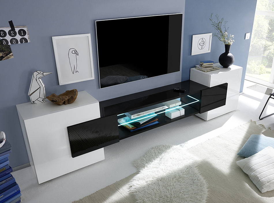 Modern Low Tv Stands Intended For Trendy Modern Tv Stand Incastro Low Blacklc Mobili (Gallery 6 of 20)