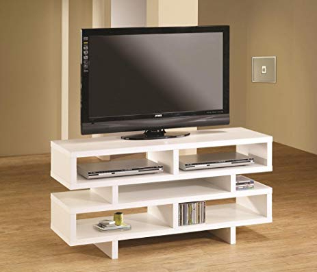 Modern Style Tv Stands Pertaining To Fashionable Amazon : Modern Style White Finish Wood Step Style Shelves Tv (View 13 of 20)