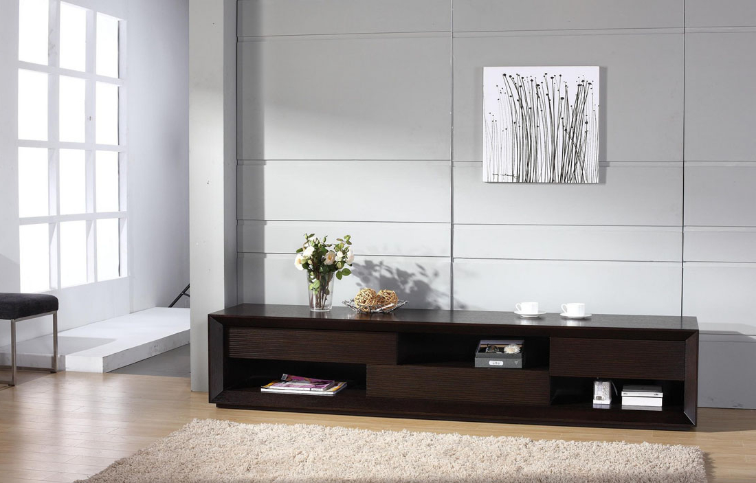 Modern Style Tv Stands With Regard To Preferred Contemporary Wenge Wood Finish Tv Stand With Unique Storage Spaces (View 4 of 20)