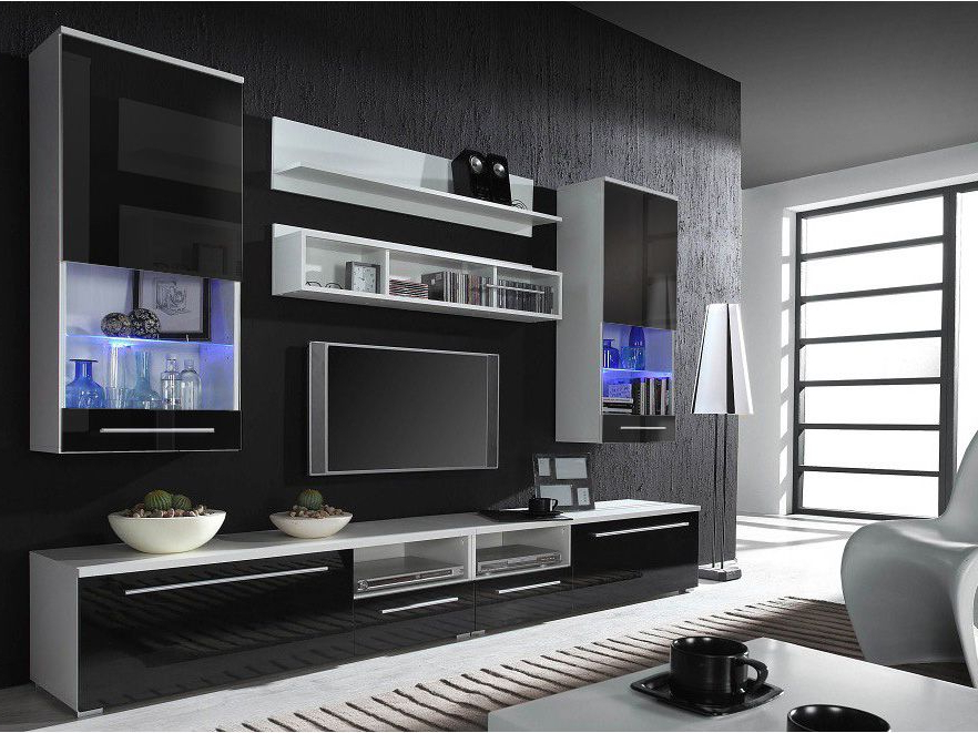Modern Throughout Black Gloss Tv Wall Unit (View 15 of 20)