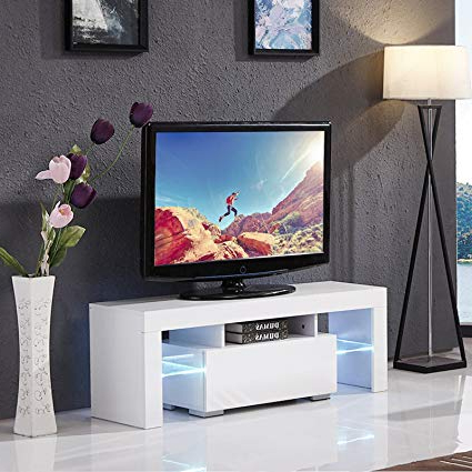 Modern Tv Cabinets For Flat Screens With Current Amazon: Mecor Modern White Tv Stand, 51 Inch High Gloss Led Tv (View 10 of 20)