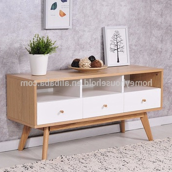 Modern Tv Cabinets For Flat Screens With Regard To Most Current Modern Tv Cabinet Stand Furniture Beech Wood Flat Screen Tv Table (View 8 of 20)