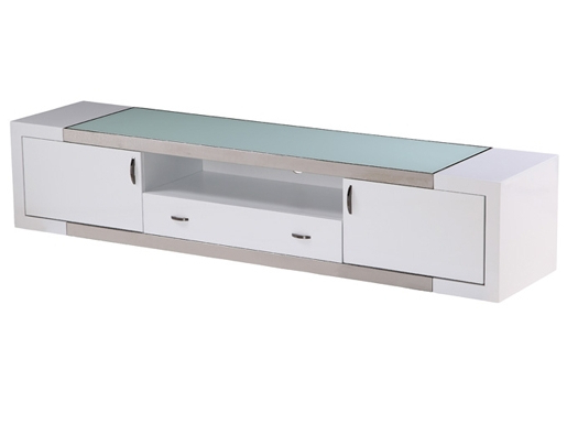 Modern Tv Stand Franco White In Recent White Modern Tv Stands (View 7 of 20)