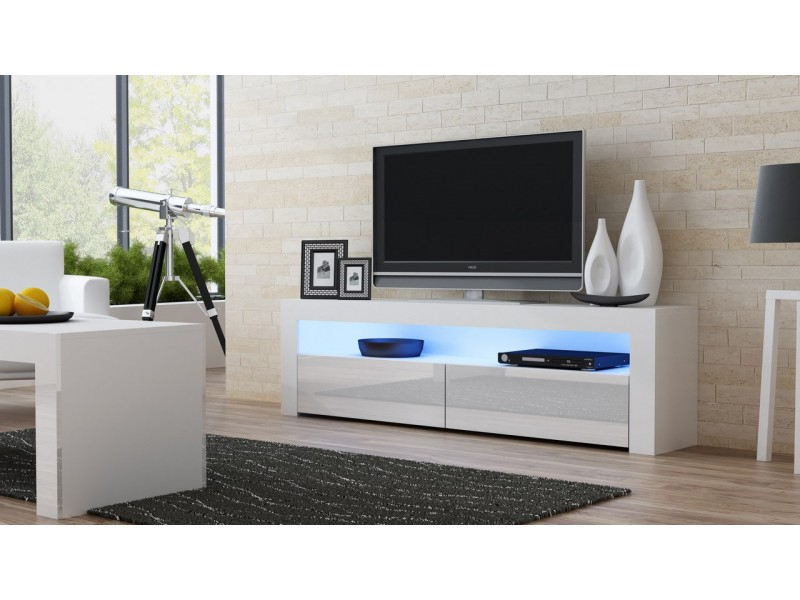 Modern Tv Stand Milano 157 White Finish Inside Most Current White Tv Stands (View 7 of 20)