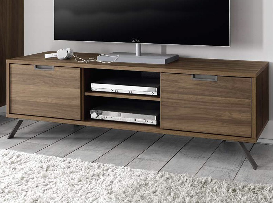 Modern Tv Stand Palma Walnutlc Mobili – Tv Stands – Living Room With Most Popular Walnut Tv Cabinets With Doors (View 5 of 20)