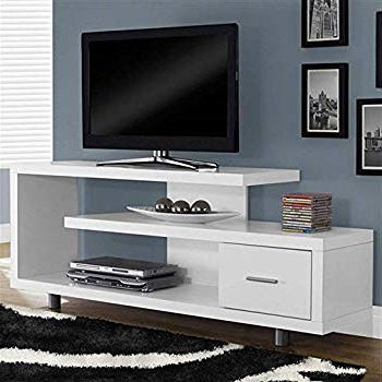 Modern Tv Stands For Flat Screens Regarding Favorite Amazon: Myeasyshopping Contemporary Grey And Black Tv Stand (View 11 of 20)
