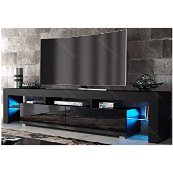 Modern Tv Unit 200cm Cabinet Black Matt And Black High: Amazon.co (View 16 of 20)