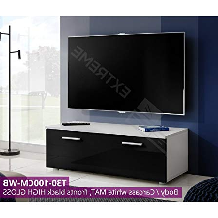 Modern Tv Unit Cabinet High Gloss Tv Stand Entertainment Lowboard T30 100Cm  / Wb For Famous Tv Unit 100Cm (Gallery 16 of 20)