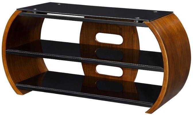 Modern Walnut Tv Stands With Regard To 2017 Jual Curved Side Modern Tv Stand With 2 Shelves Jf208 – Walnut (View 19 of 20)