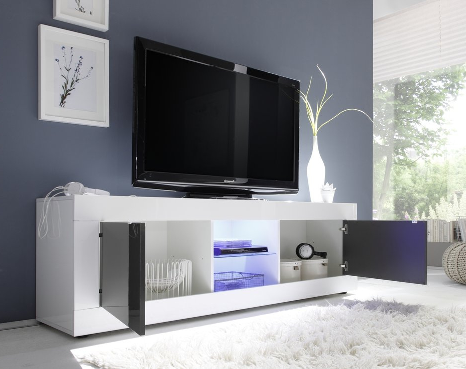 Modern White Gloss Tv Stands For Well Known Urbino Collection Big Tv Unit Including Led Spot – White Gloss (View 9 of 20)