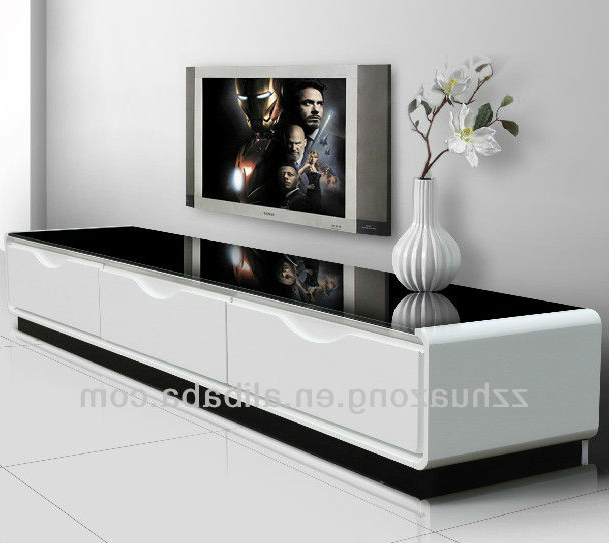 Modern White High Gloss Mdf Tv Stand With Tempered Glass – Buy High Inside Current White Modern Tv Stands (View 11 of 20)