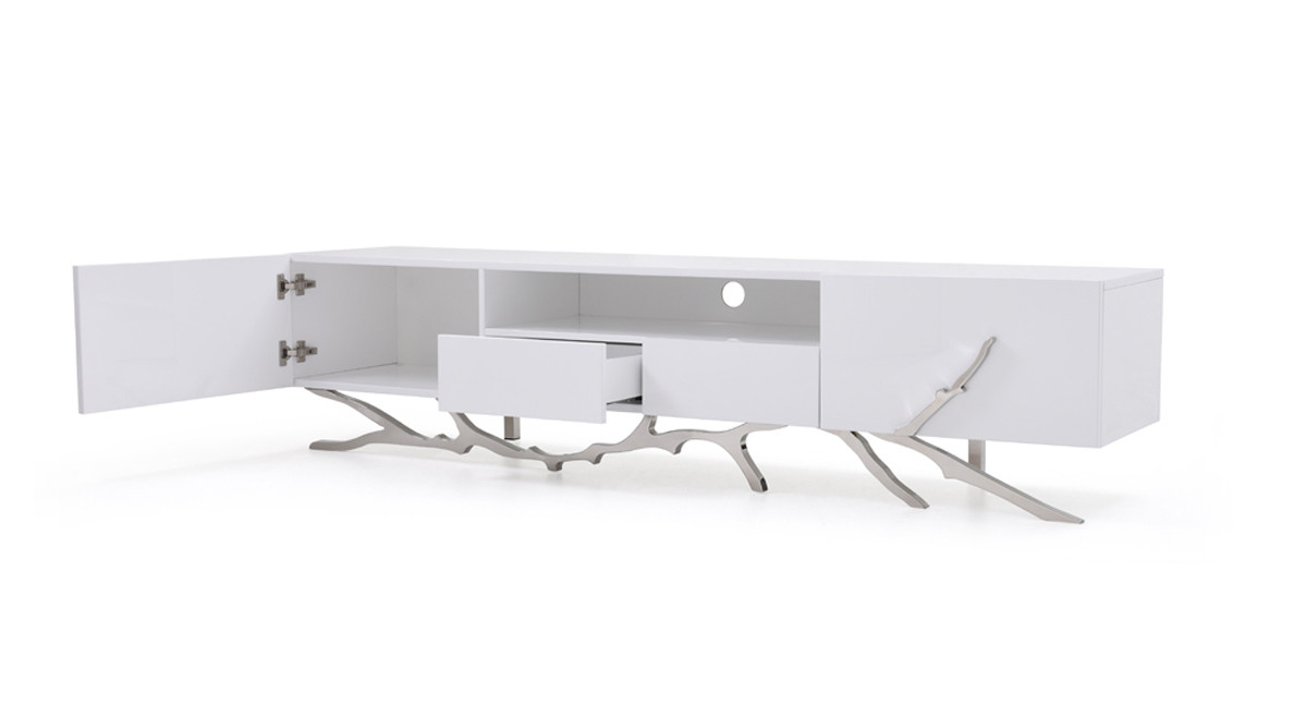 Modern White Tv Stands In Most Current Modrest Legend Modern White Tv Stand (View 19 of 20)