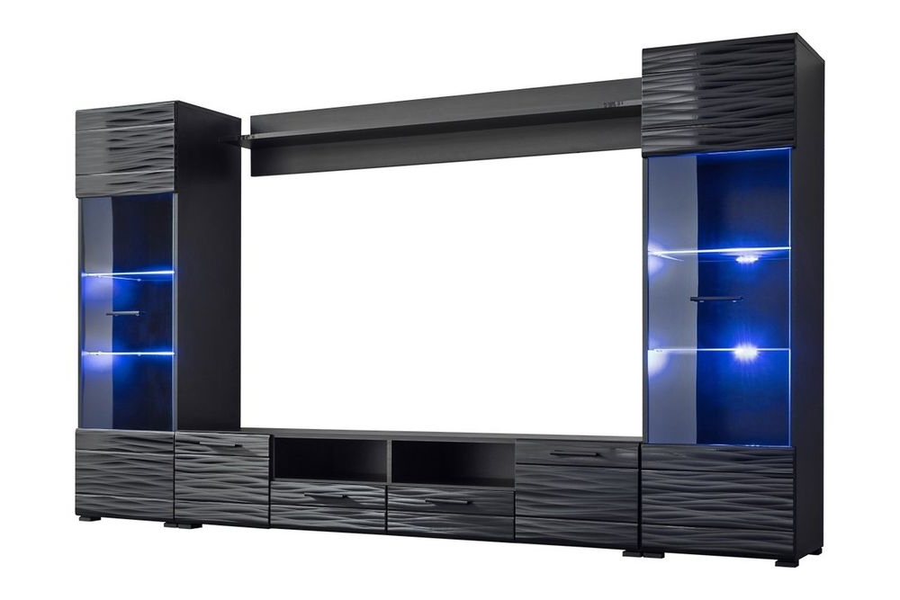 Modica Modern Entertainment Center Wall Unit With Blue Led Lights 65 Within Most Recent Forma 65 Inch Tv Stands (Gallery 16 of 20)