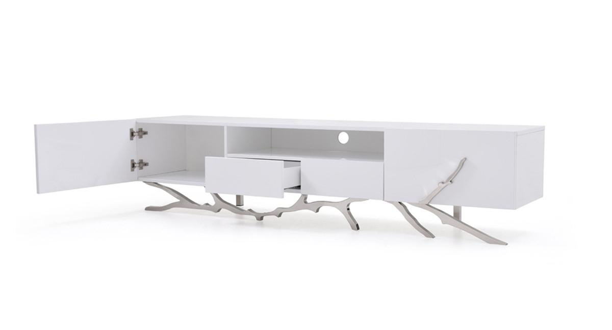Modrest Legend Modern White Tv Stand Regarding Widely Used Modern White Tv Stands (View 12 of 20)