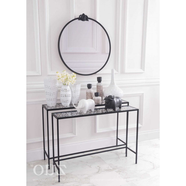 Most Current A10739 – Web Set Of 2 Console Tables Black Pertaining To Scattered Geo Console Tables (View 9 of 20)