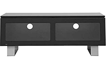 Most Current Black Glass 42 Inch Slimline Tv Stand With Cabinet.: Amazon.co (View 18 of 20)