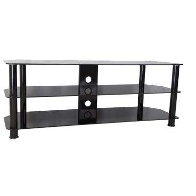 Most Current Black Glass Tv Stands Within Glass – Tv Stands – Living Room Furniture – The Home Depot (View 8 of 20)