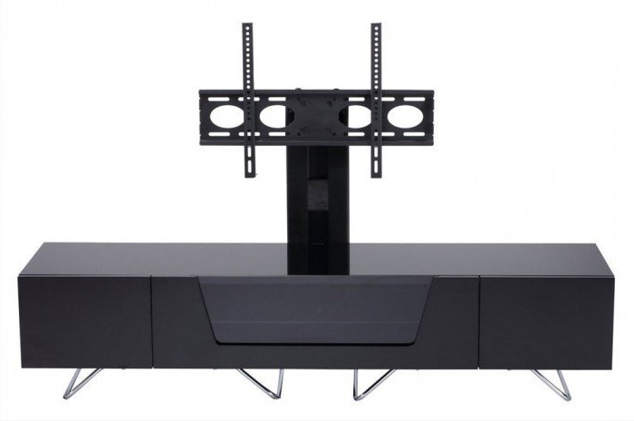 Most Current Cantilever Tv Stands Within Alphason Chromium 1600Mm Cantilever Tv Stand In Black (Cro2 1600Bkt Blk) (View 13 of 20)