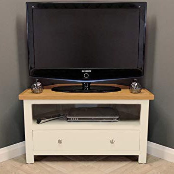 Most Current Chester Painted Cream Oak Corner Tv Unit: Amazon.co (View 9 of 20)