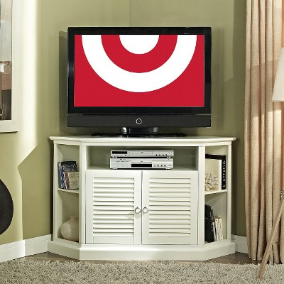 Most Current Corner Tv Stand With Louvered Doors – White (52) – Walker Edison With White Small Corner Tv Stands (View 5 of 20)