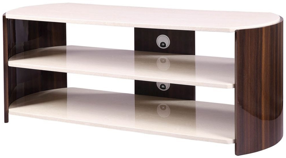 Most Current Cream Gloss Tv Stands Inside Buy Jual Milan Walnut And Cream High Gloss Tv Stand Jf901 Online (View 13 of 20)