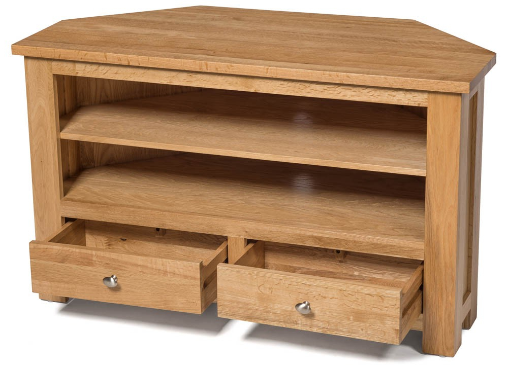 Most Current Dark Wood Corner Tv Stands With Waverly Oak 2 Drawer Corner Tv Stand Unit (View 8 of 20)