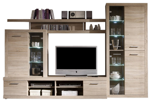 Most Current Entertainment Center Tv Stands Pertaining To Cancun Wall Unit Modern Entertainment Center Tv Stand, Oak (View 15 of 20)