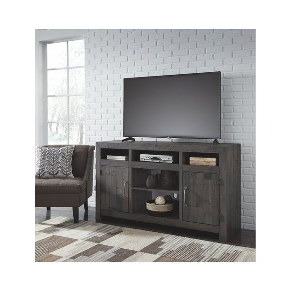 Most Current Grey Tv Stands Intended For Shop Signature Designashley Mayflyn Large Charcoal Grey Tv Stand (View 9 of 20)