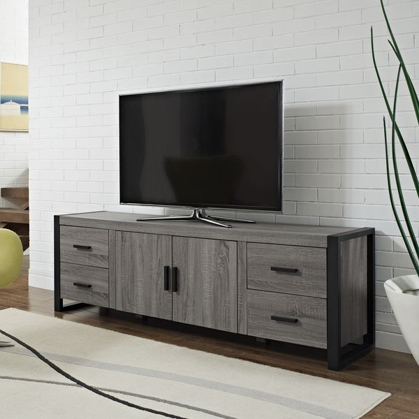 Most Current Grey Wood Tv Stands Throughout 70 Inch Urban Blend Ash Grey Wood Tv Stand – Overstock™ Shopping (View 15 of 20)