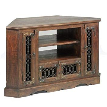 Most Current Jali Tv Cabinets For Jali Sheesham Corner Tv Cabinet – Furniture: Amazon.co (View 16 of 20)