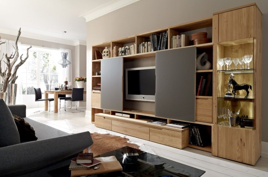 Most Current Large Tv Cabinets With Furniture: Outstanding Living Room Decoration Using Large Oak Wood (View 10 of 20)